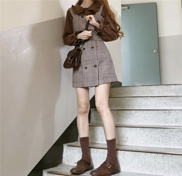 Girl Plaid Blouse Vintage Dress New Sleeveless Suits Women Dresses Female Dress Suits Braces Robe Femme Vestido Sell Separately