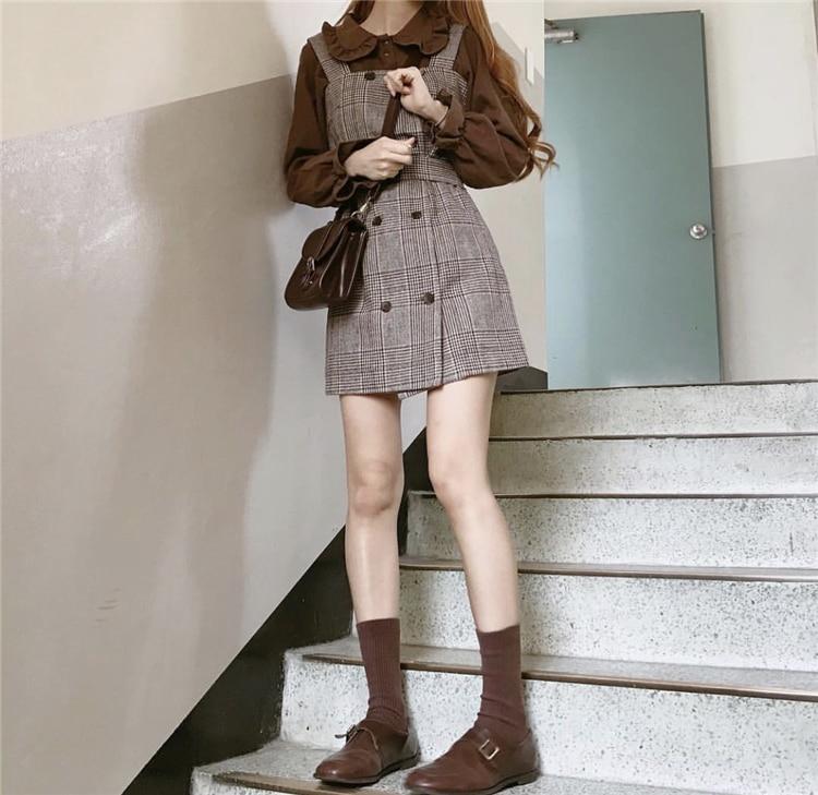 Girl Plaid Blouse Vintage Dress New Sleeveless Suits Women Dresses Female Dress Suits Braces Robe Femme Vestido Sell Separately