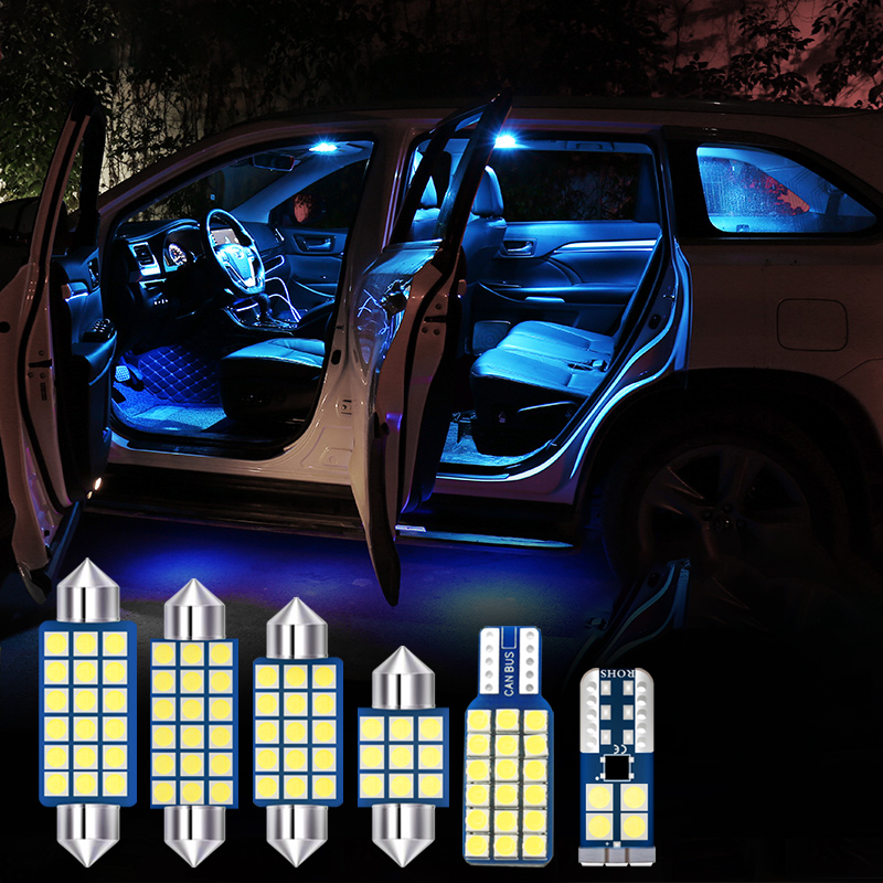6pcs White Error Free Bulb LED Car Interior Reading Light Kit For Jeep Compass 2017 2018 2019 Dome Reading Lights Trunk Lamp