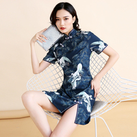 Old Shanghai Qipao Sexy Young Girl Short Sleeve Evening Party Qipao Cheongsam LadiesEmbroidered disc clasp Formal Social Dress