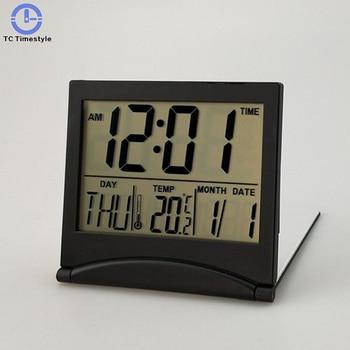 Relógio de viagem led digital despertador multifunction silencioso eletrônico lcd grande tela dobrável relógio de mesa temperatura data tempo