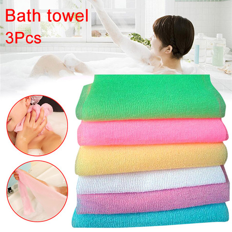 3Pcs Nylon Mesh Bath Shower Body Washing Clean Exfoliate Puff Scrubbing Towel Wash Cleaning Tool FBS889 Pakistan