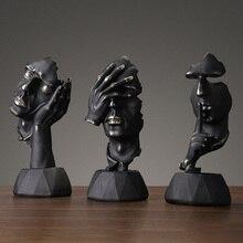Европейская Черная смола Thinker скульптура Миниатюрная модель фигурки художественные поделки украшения дома аксессуары подарок на день рожд...