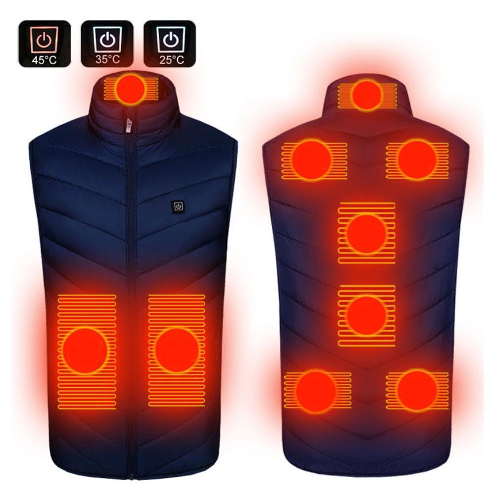 9 области с подогревом жилет куртка USB для мужчин зима с электроприводом с подогревом без рукавов термобелье жилет для мотора верховая езда охота туризм +% EB% B0% 9C% EC% 97% B4% EC% A1% B0% EB% 81% BC