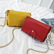Womens bag fashion simple bright ladies shoulder small square casual trend rivets diagonal across