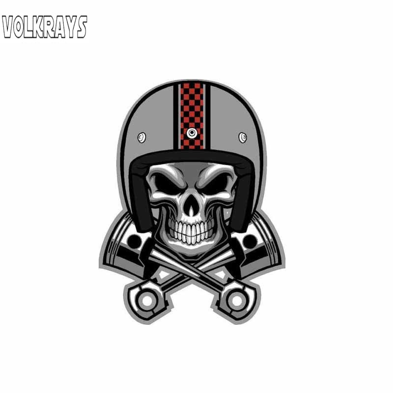 Volkrays Creative Car Sticker Cafe Racer Skull Pistons Helmet Accessories Waterproof Cover Scratches Vinyl Decal,11cm*8cm