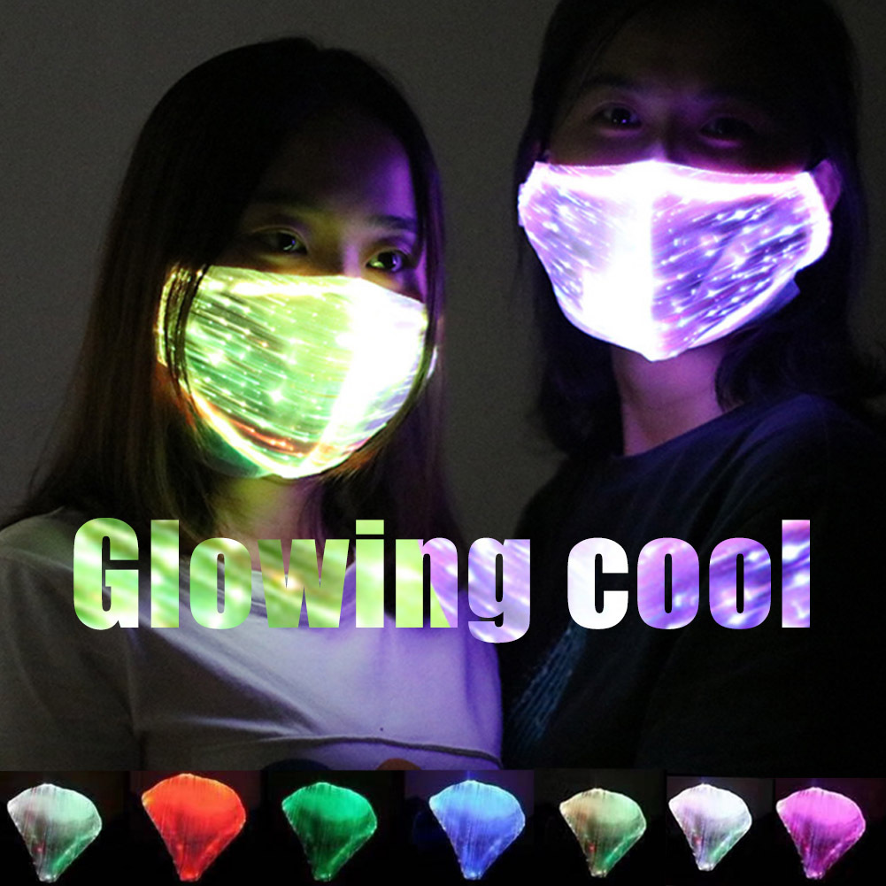 LED Flashing Mask Chargeable Colorful Dust Mask Fiber Optic Fabric Mask TT@88