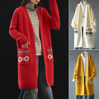 Hot Women Knit Cardigan Long Sleeve Embroidered Sweater Open Front Cardigan Outwear CGU 88