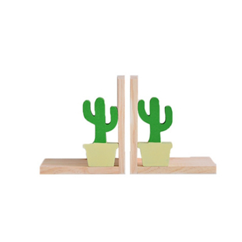 2Pcs Wooden Bookends Support Stand Student Book Storage Shelf Home Decoration