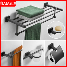 Bathroom Towel Holder Black Towel Bar Stainless Steel Towel Rack Hanging Holder Coat Hook Toilet Paper Holder Toothbrush Holder stainless steel towel bar sets brushed gold towel holder towel rack hanging holder toilet paper holder coat hook bathroom shelf