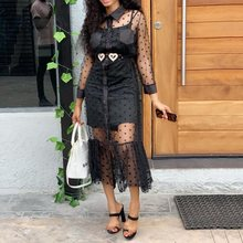 2 Pieces Sets Dress Sexy Lace 2019 Fall Party Club Summer Elegant Black Mesh Midi Dresses Robe Female Vestiods African Style