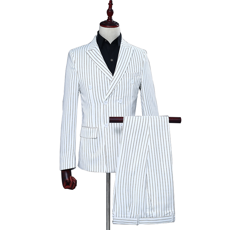 Black Stripe White Men's Suits Prom Banquet Wedding Double-breasted Notch Lapel Flat Slim Casual Blazer + Pants