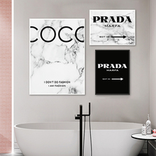 Fashion Coco Quotes Posters and Prints Modern Black White Marble Vogue-Pictures Print Canvas Painting for Living Room Home Decor