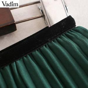 Image 5 - Vadim mujeres chic encaje patchwork chifón Falda plisada cintura elástica irregular diseño femenino casual verde faldas midi BA819