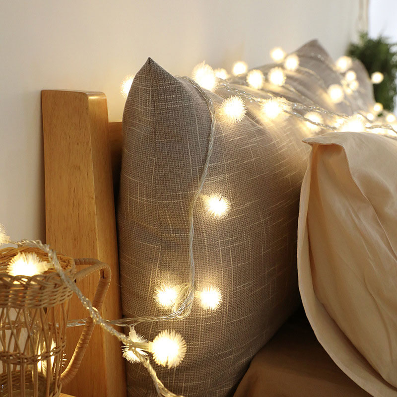 QYJSD Cute Fur Snow Ball Light String Christmas New Year Garden Party Wedding Wall Decor Outdoor Holiday Atmosphere LED USB Lamp