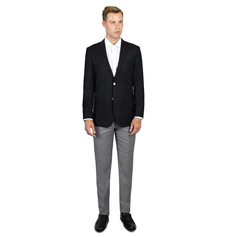 Custom Blac Jacket Light Grey Pants Groomsman Men Suits Two Button 2-Piece Slim Fit Men Blazer Groom Tuxedos (Jacket+Pants) H512