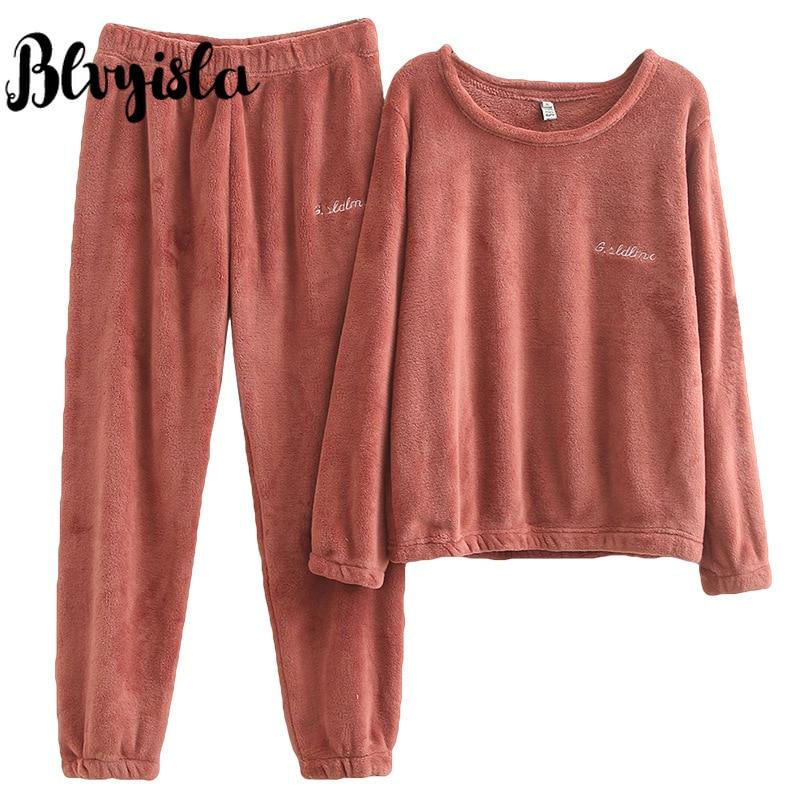 Blvyisla 4XL Thicken Fleece Sleepwear Overall Large Keep Warm Flannel Home Pajamas Set Female Winter Nightwear Women Sets