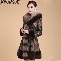 AYUNSUE Genuine Leather Jacket Winter Jacket Women Fox Fur Collar Pigskin Coat Female Rabbit Fur Down Jackets Plus Size 6xl MY