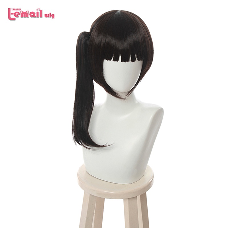 L-email Wig Demon Slayer Tsuyuri Kanawo Cosplay Wigs Kimetsu No Yaiba Cosplay Brown Wig Ponytail Heat Resistant Synthetic Hair