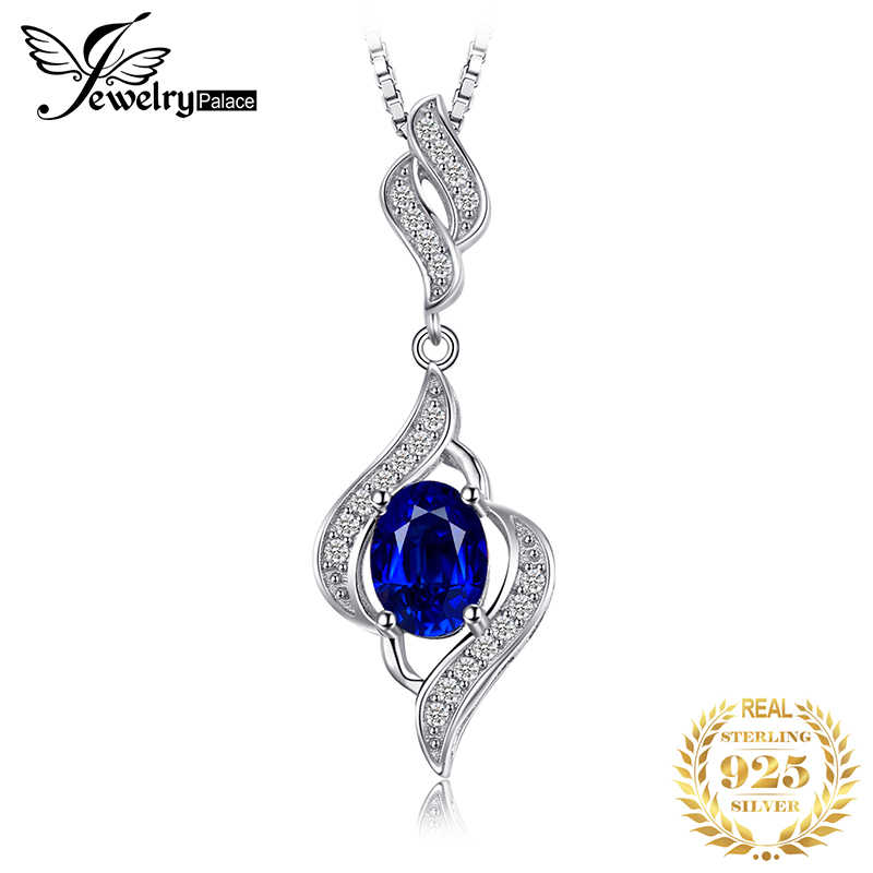 JewelryPalace Created Sapphire Pendant Necklace 925 Sterling Silver Gemstones Choker Statement Necklace Women Without Chain