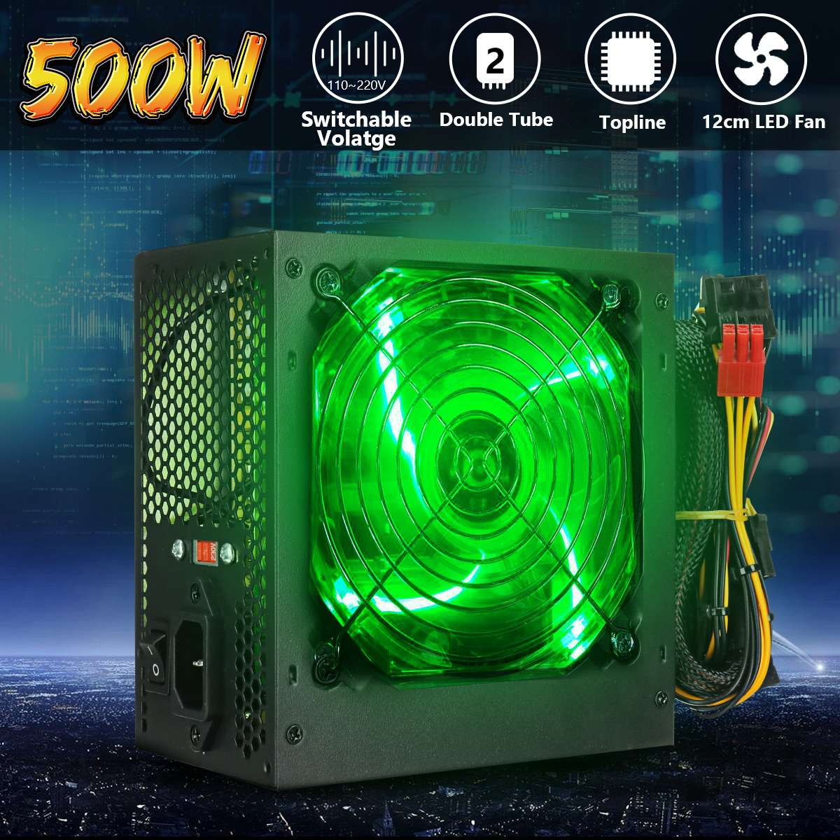 Max 500W Power Supply 120mm LED Fan 24 Pin PCI SATA ATX 12V PC Computer Power Supply 110~220V For Desktop Gaming