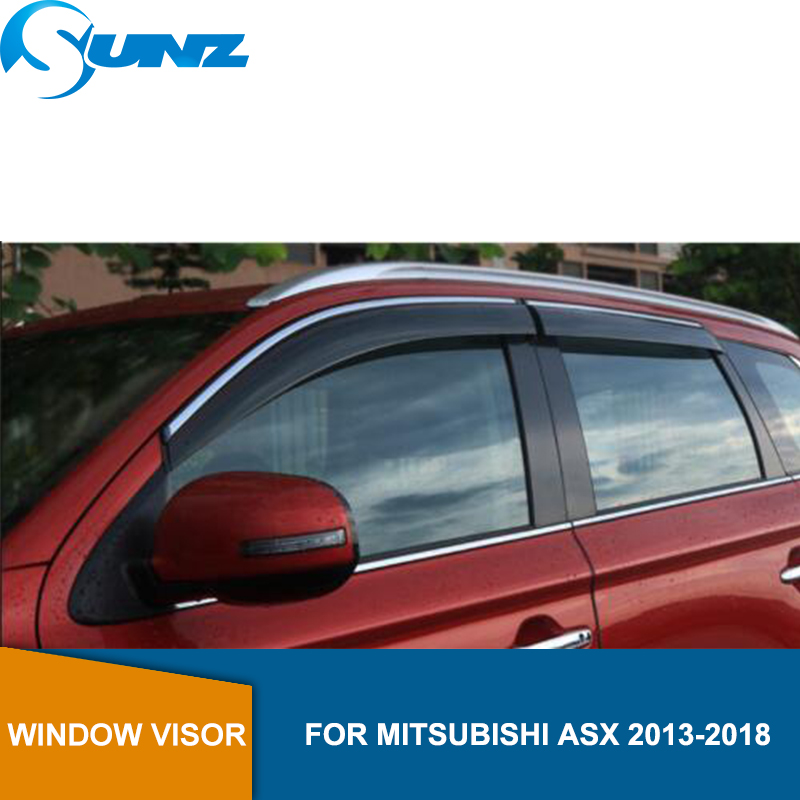 Smoke Side window deflectors For Mitsubishi ASX 2010 2011 2012 2013 2014 2016 2017 2018 Window Rain Deflector rain Guard SUNZ|Awnings & Shelters|Automobiles & Motorcycles - title=