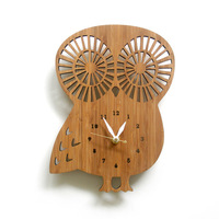 Wall Clock The Simplicity of Modern Bamboo Wood Owl Garden Watch Cartoon Creative Fashion Quartz Clocks
