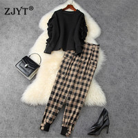 High Street Fashion Lady Casual Two Piece Outfits Autumn Winter Women Ruffle Space Cotton Top and Harem Pants Suit Matching Sets