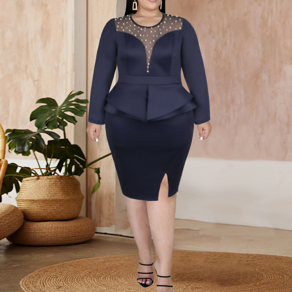Plus Size Sets Women Long Sleeve Tops and Skrits Two Piece Set...