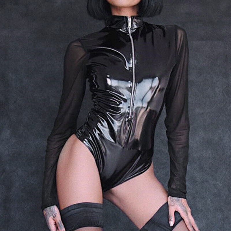 Patent Leather Women Zipper Jumpsuit Black Bodysuit Sexy Beauty Fashion Hot Sale Eye-catching Bodysuits