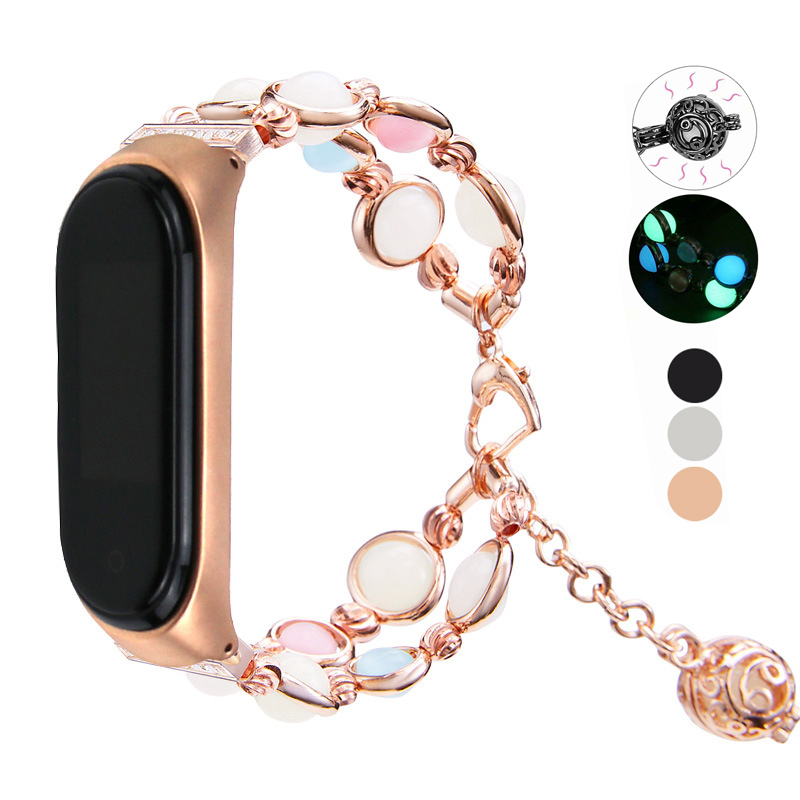 Essidi Luminous Beads Bracelet Strap Fo Xiaomi Mi Band 3 4 Women Fashion Smart Wrist Band Loop For Xiaomi Mi Band 3 4 Watch(China)
