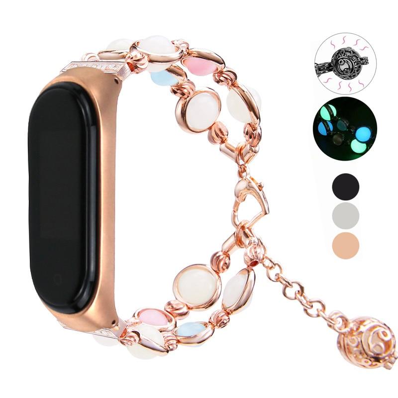 Essidi Luminous Beads Bracelet Strap Fo Xiaomi Mi Band 3 4 Women Fashion Smart Wrist Band Loop For Xiaomi Mi Band 3 4 Watch