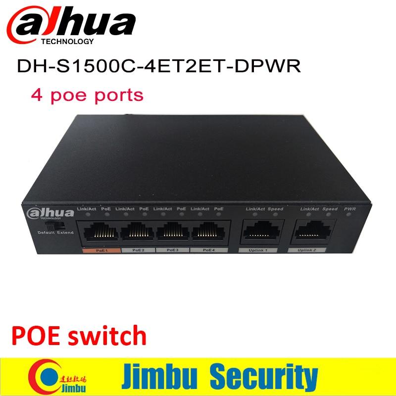Dahua 4 Ports POE Switch S1500C-4ET1ET-DPWR IEEE802.3af IEEE802.3at Hi-PoE 1*10/100Mbps 8*10/100 Mbps DH-S1500C-8ET1ET-DPWR