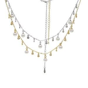 Image 4 - 100% reine 925 Silber Halsketten Anhänger für Frauen Runde Süßwasser Perlen Halskette Feine Büro Schmuck Einfache Design Bijoux