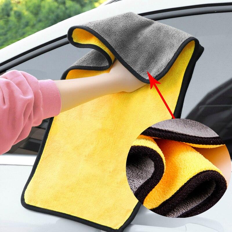 2 шт. 30x3 0/60 см автомойки микрофибра Полотенца чистки автомобиля сушка ткань с каймой, для ухода за автомобилем ткань с подробным описанием Ав...