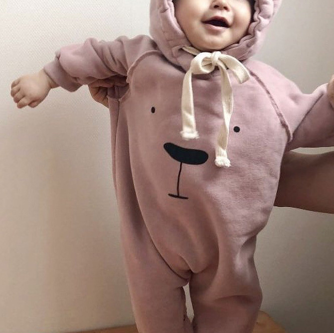 Korean Fleece Cute Bear Ear Romper Autumn And Winter 2019 Long Sleeve Suit For Boys And Girls