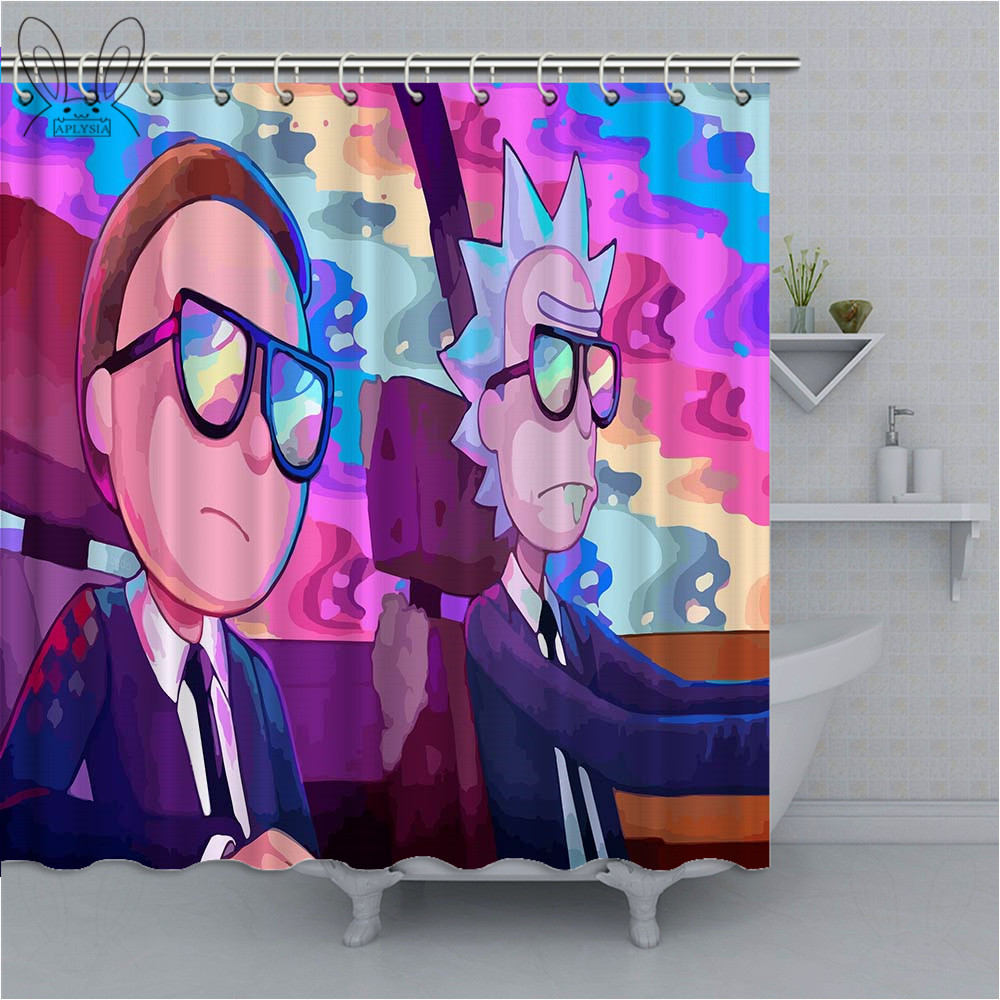 Cartoon Rick And Morty Series Shower Curtain 3D Waterproof Polyester Bathroom Curtain For Bath Decor With Accessories