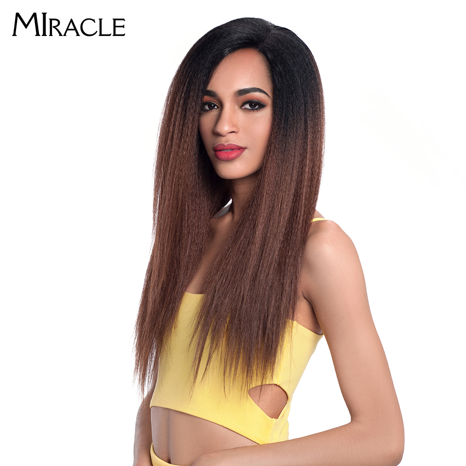 """Image 4 - Miracle Hair Ombre 26""""Inch Long Straight Synthetic Hair Lace Front Wigs For Black Women Yaki Lace Wigs With Baby Hair Free Part-in Synthetic Lace Wigs from Hair Extensions & Wigs"""