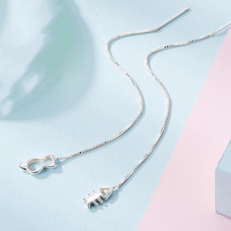 Hollow Asymmetric Cute Cat Fish Long Ear Line Threader 925 Sterling Silver Drop Earrings For Women Sweet Simple Korean Jewelry