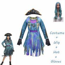 2020 mardi gras descendentes azuis 3 uma trajes de mangas compridas festa engraçado cosplay meninas peruca + vestido traje de halloween para crianças