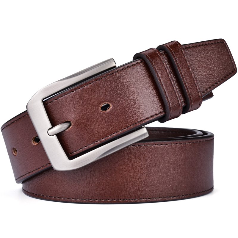 Men 39 s Casual Leather Belt Trinity Style for Jeans Big Size Dress Leather Strap Silver Prong Buckle Belt in Men 39 s Belts from Apparel Accessories