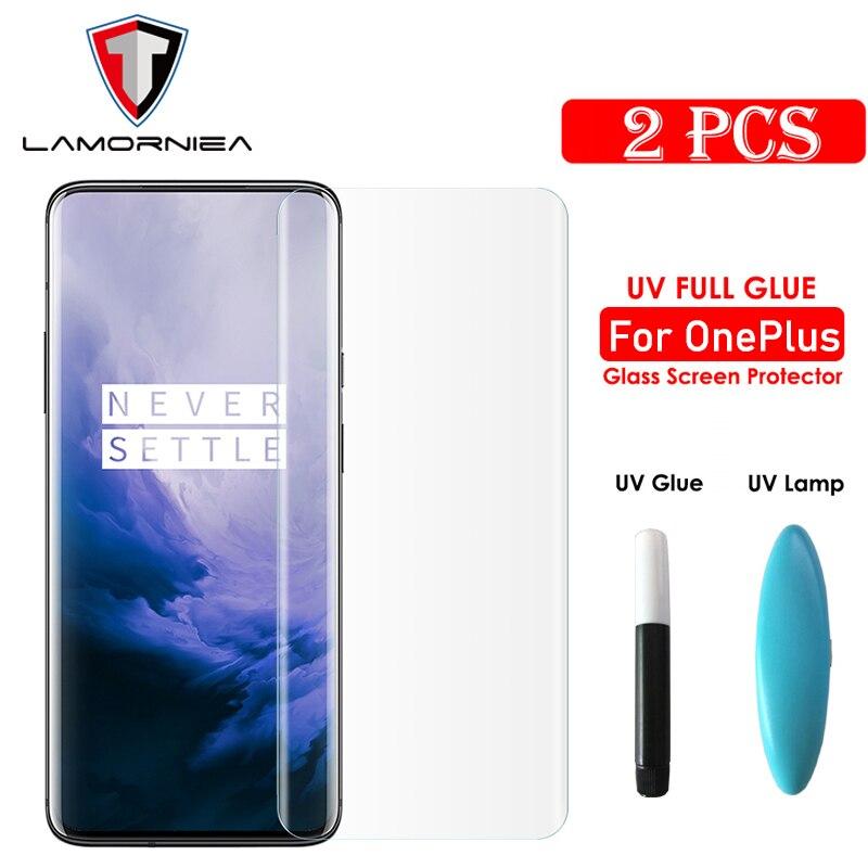Lamorniea UV Tempered Glass For Oneplus 7T Pro 100D UV Full Liquid Glue Screen Protector For Oneplus 7 Pro UV Full Glue Glass