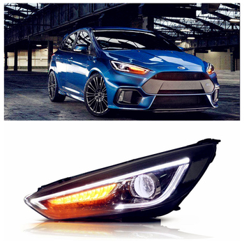 VLAND Factory For Car Head Lamp For Focus LED Headlight 2015 2016 2017 With DRL Will Turn To White From Blue and  Demon Eyes