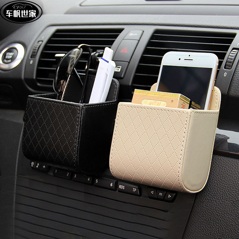 1pcs Car Storage Bag Air Outlet Storage Bag Car Leather Multifunctional Storage Phone Holder Car Storage Box Bag Car Accessories title=