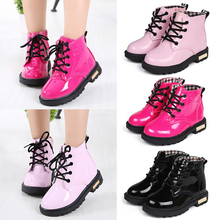 цены Kids Waterproof Shoes Kids Girl Lace Up Boots Kids Martin Boots botas Kids Ankle Boots PU Leather Waterproof Motorcycle Boots 30