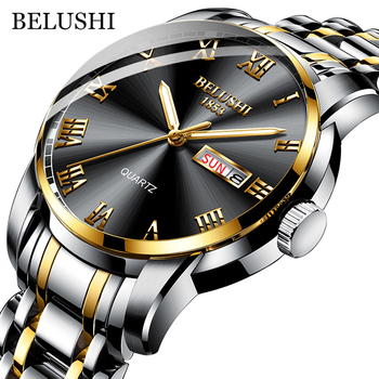BELUSHI Top Brand Watch For Men Stainless Steel Business Date Clock Waterproof Luminous Watches Mens Luxury Sport Quartz Wrist Watch