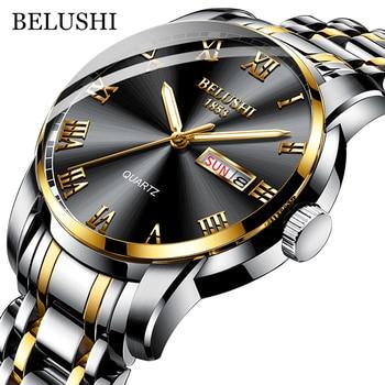 BELUSHI Top Brand Watch Men Stainless Steel Business Date Clock Waterproof Luminous Watche 1