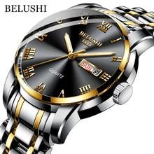 BELUSHI Top Marke Uhr Männer Edelstahl Business Datum Uhr Wasserdicht Leuchtende Uhren Herren Luxus Sport Quarz Armbanduhr