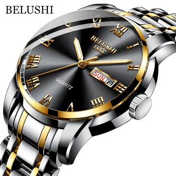 BELUSHI Top marka zegarek mężczyźni stal nierdzewna biznes data zegar wodoodporne zegarki podświetlane męskie luksusowe sportowe zegarki kwarcowe tanie i dobre opinie 23cm QUARTZ 3Bar Zapięcie bransolety CN (pochodzenie) STOP 10mm Hardlex Kwarcowe zegarki bez opakowania STAINLESS STEEL