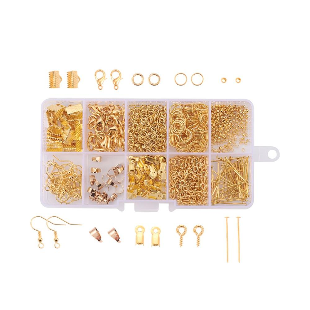 DIY Jewelry Findings Crimp Beads Head Pins Ribbon Ends Earring Hook Jump Ring Claw Clasps Antique Bronze Golden Silver